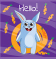 cartoon bunny hello vector image vector image