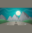 cartoon night landscape comet moon mountains vector image vector image