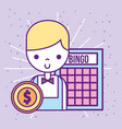 casino croupier male bingo game dollar coin vector image