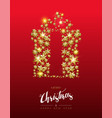 christmas gold star shape gift on red background vector image