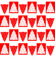 christmas trees seamless pattern in red and white vector image vector image