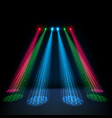 colorful glow spotlights with white podium vector image