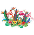 composition from flowers and flamingoes vector image