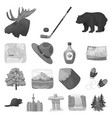 country canada monochrome icons in set collection vector image vector image