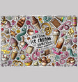 doodle cartoon set ice cream items vector image vector image
