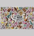 doodle cartoon set of ice cream items vector image