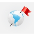 Earth Planet Icon with Red Flag vector image vector image