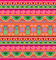 floral seamless folk art pattern - indian vector image vector image
