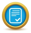 Gold yes document icon vector image vector image