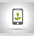 green smart phone power efficiency on white vector image vector image