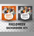 halloween flat banner template background vector image vector image
