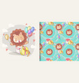 hand drawn happy cute lion with balloons and vector image vector image