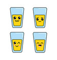 kawaii glass juice faces icon vector image