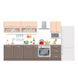 kitchen modern interior and furniture on white vector image
