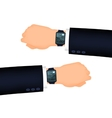 Mans hand right and left with smart watch vector image vector image