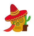 mexican skull hat cactus and chili pepper vector image