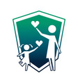 mother and daughter with hearts and shield vector image vector image