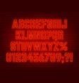 neon bright red font with numbers and punctuation vector image vector image