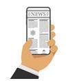 newspaper on smartphone vector image
