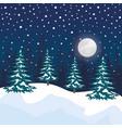 night snowscape field scene vector image