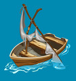 old rowing boat with dilapidated sailboat on water vector image vector image
