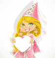 Pretty princess holding a banner-heart vector image vector image