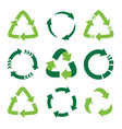 recycling symbol ecologically pure funds set vector image