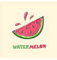 red cut juicy summer watermelon with drops and vector image