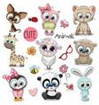 set cute cartoon animals vector image vector image