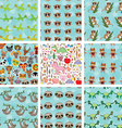 Set of 9 seamless pattern with funny animals on vector image