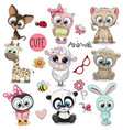 set of cute cartoon animals vector image vector image