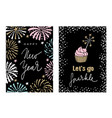 set of happy new year greeting cards party vector image vector image