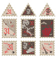 Set of vintage post stamps for Halloween party vector image vector image