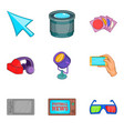 shooting icons set cartoon style vector image