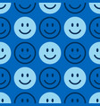 smile icon pattern happy faces on a blue vector image vector image