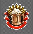 sticker wooden beer mug vector image
