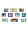 store or shop buildings with storefront windows vector image