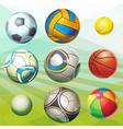 various sports balls vector image vector image
