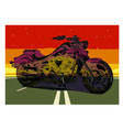 vintage motorcycle poster motorcycle on the road vector image vector image
