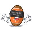 virtual reality rugby ball mascot cartoon vector image vector image