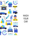 with car wash flat icons vector image