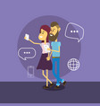 woman and man with smartphones and chat bubbles vector image