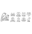 zoo pet shop logo set outline style vector image