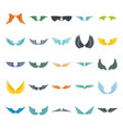 wings set on white background heraldic flat wings vector image