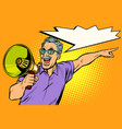 an elderly man with a megaphone vector image vector image