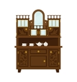 Antique Wooden Cupboard With China vector image