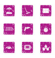 baby play icons set grunge style vector image vector image