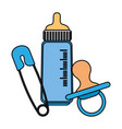bamilk bottle with pacifier and clothespin vector image vector image