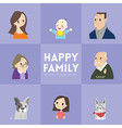 big happy family cartoon portrait vector image