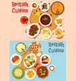 british cuisine popular dishes icon set design vector image vector image